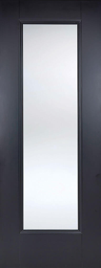 Black primed eindhoven 1 lite clear glazed internal door