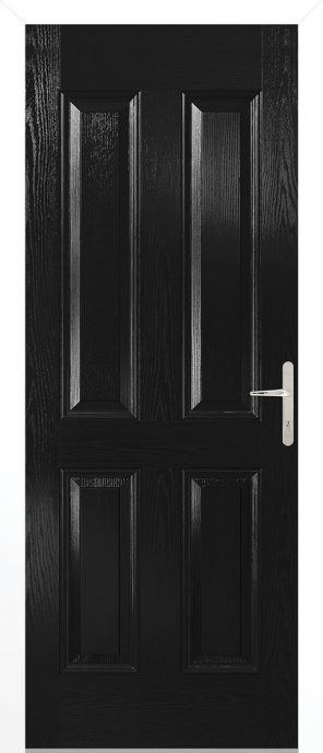 Carsington composite black external door with white frame