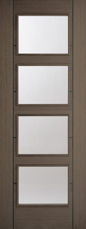 Pre finished chocolate grey vancouver 4l clear glazed internal door