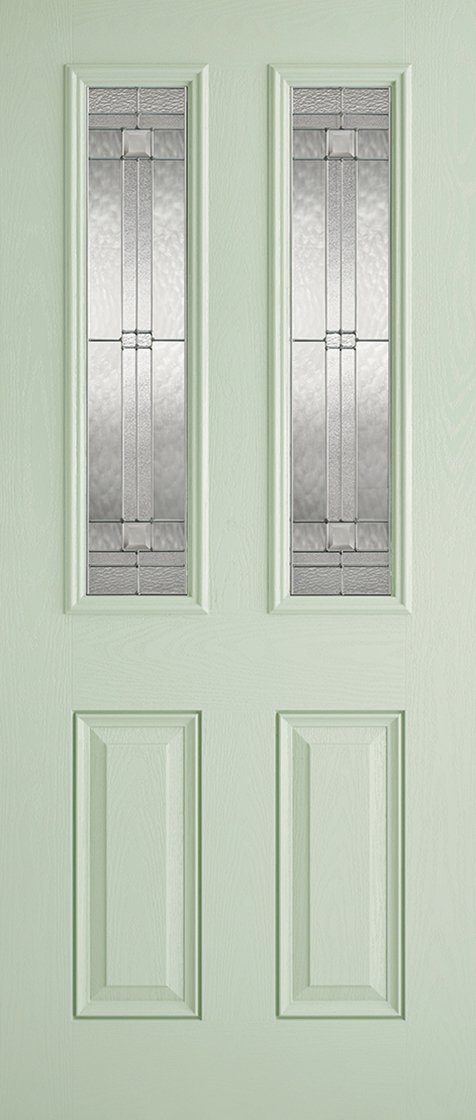 Grp composite green & white malton 2 lite lead double glazed external door