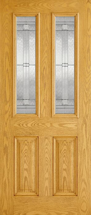 Grp composite oak malton 2 lite lead double glazed external door