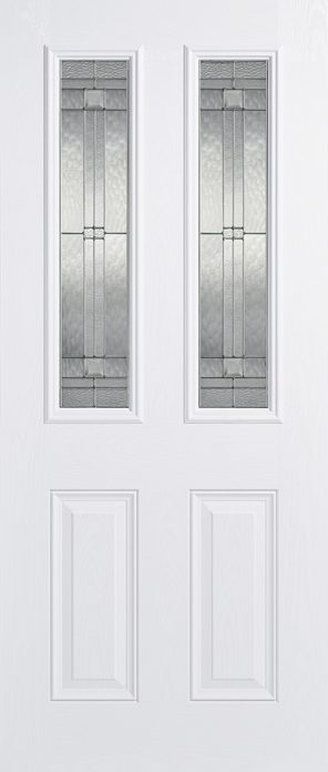Grp composite white malton 2 lite lead double glazed external door