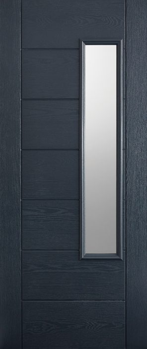 Grp composite grey frosted double glazed external door
