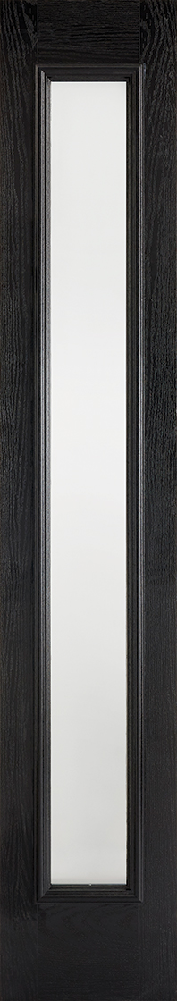 Grp composite black & white frosted double glazed external sidelight door