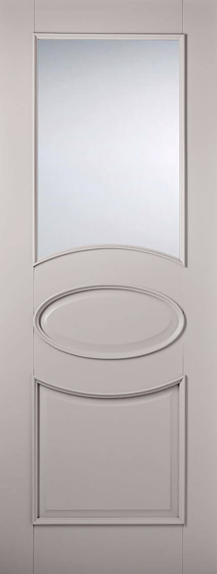 Primed plus grey versailles 1l clear glazed internal door
