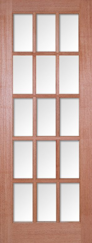 Hardwood sa 15l clear bevelled glazed internal door