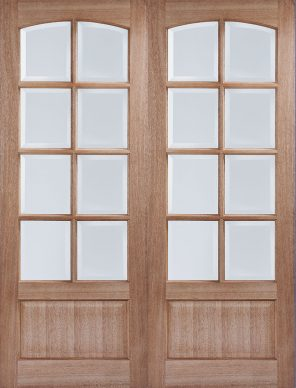 Hardwood worthing unfinished clear bevelled glazed internal door pair