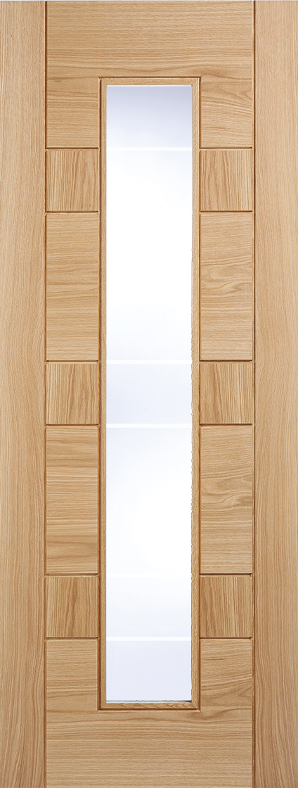 Pre finished oak edmonton internal glazed door - clear with frosted lines