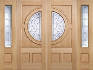 Oak empress ig zinc double glazed external entrance door