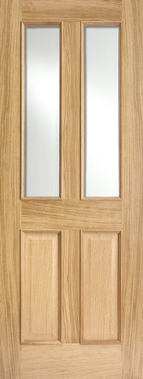 Oak richmond clear bevelled glazed rm2s (raised mouldings) internal door