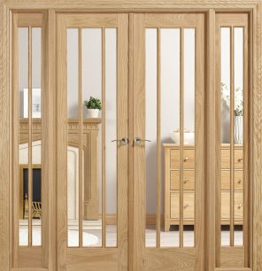 Oak lincoln 6ft clear glazed internal room divider set