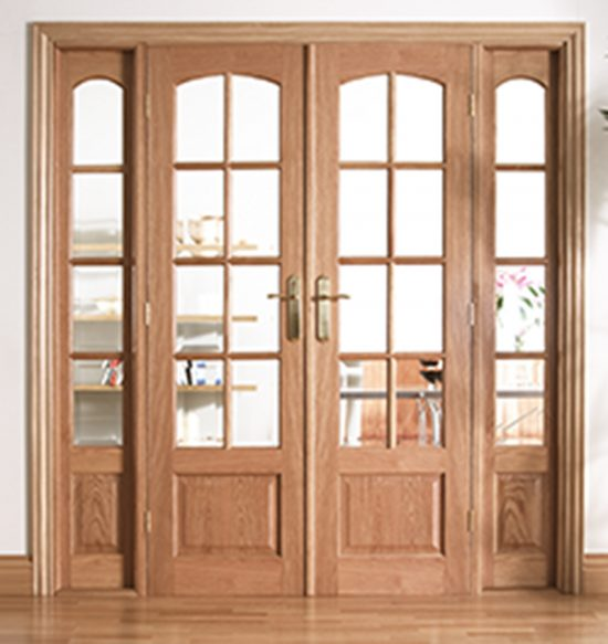 Oak worthing 6ft clear bevelled glazed internal room divider set