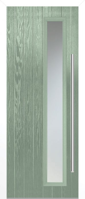 Grp composite shardlow chartwell green satin double glazed external door set with white frame