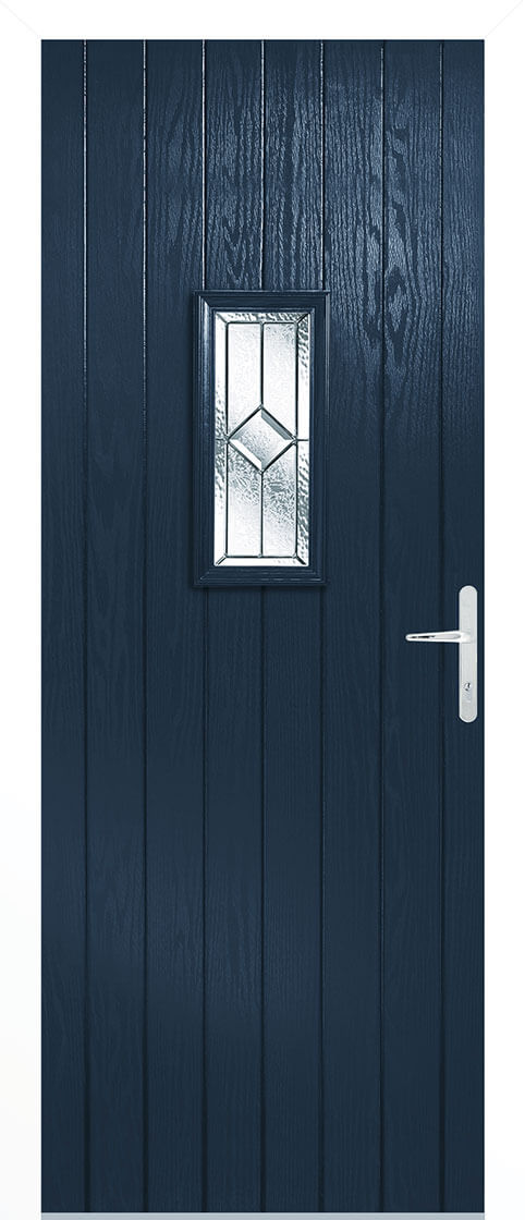 Grp composite speedwell blue lead double glazed external door set with white frame