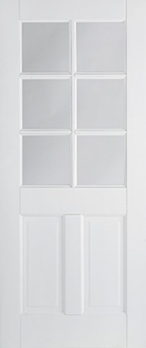 White primed canterbury 2 panel 6l clear glazed internal door