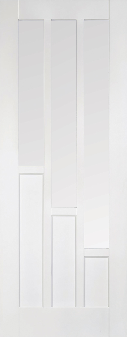 White primed coventry 3l clear glazed internal door