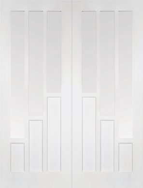 White primed coventry clear glazed internal french door pair