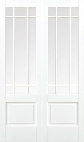 White primed downham 9l clear bevelled glazed internal french door pair