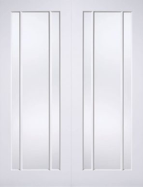 White primed lincoln clear glazed internal french door pair