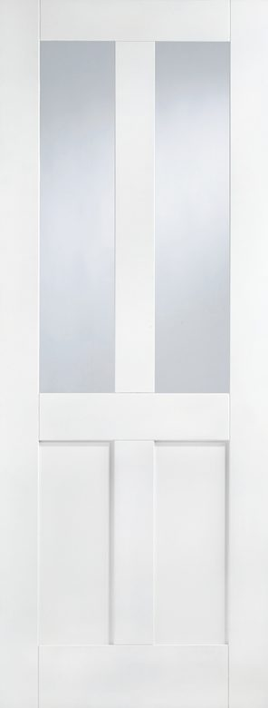White primed london 2 panel 2l clear glazed internal door