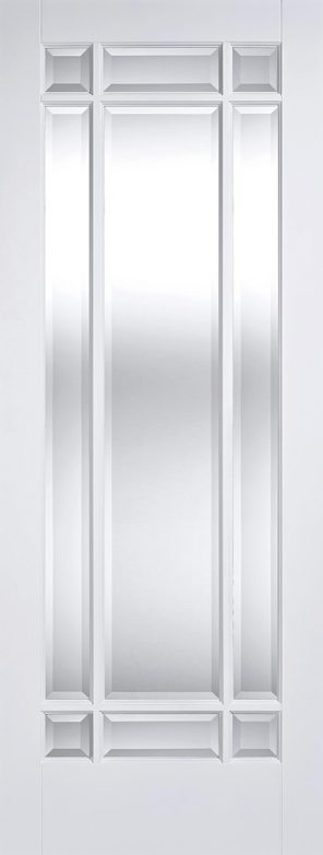 White primed manhattan 9l clear bevelled glazed internal door