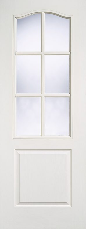 White moulded primed classic 1p 6l clear glazed internal door