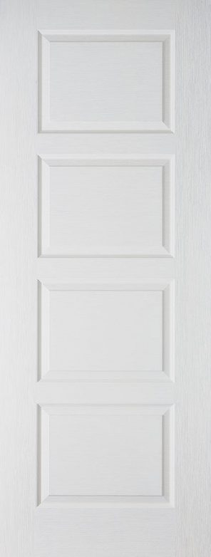 White moulded textured contemporary 4 panel internal fire door