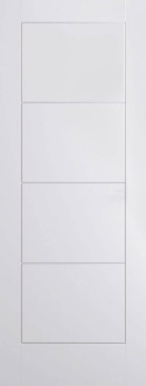 White moulded ladder panel smooth internal fire door