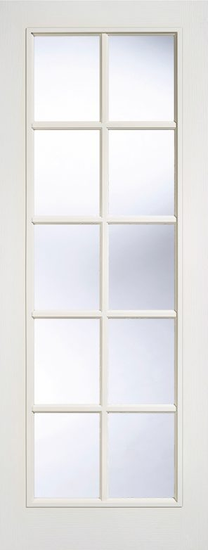 White moulded composite 10l clear glazed internal door