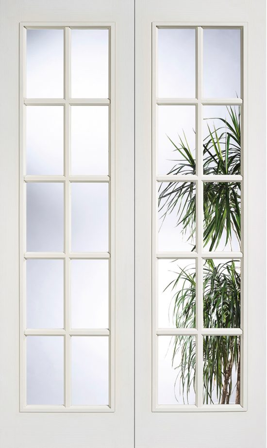 White moulded composite 10l clear glazed internal door pair