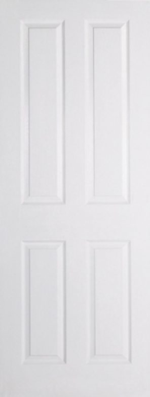 White moulded textured 4 panel square top internal fire door