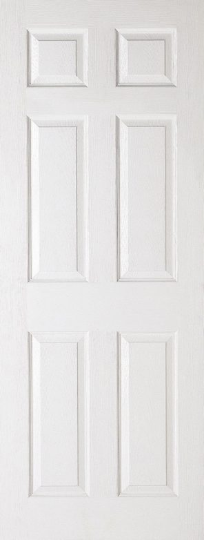 White moulded textured 6 panel square top internal fire door