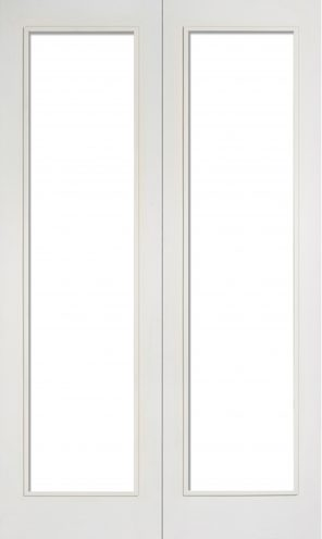 White primed pattern 20 clear glazed internal french door pair