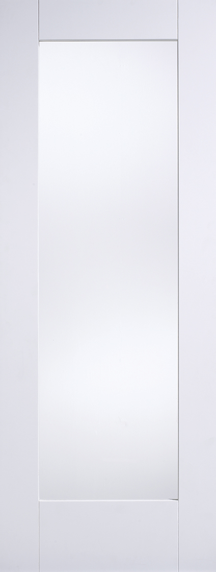 White primed shaker 1l clear glazed internal door