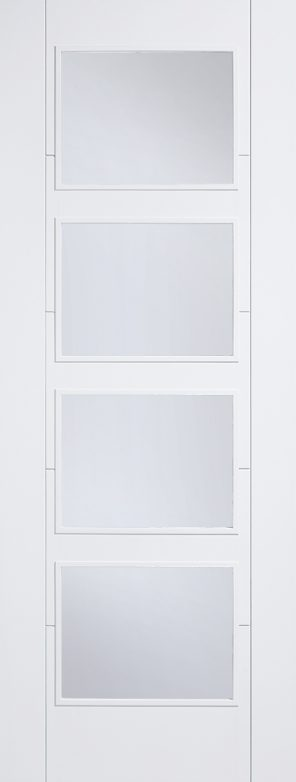White primed vancouver 4l clear glazed internal door