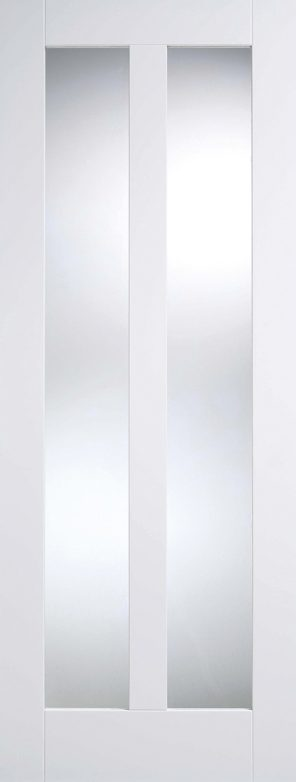 White primed vermont 2l clear glazed internal door