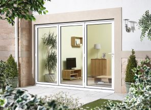 Aluminium folding sliding external patio door set - white