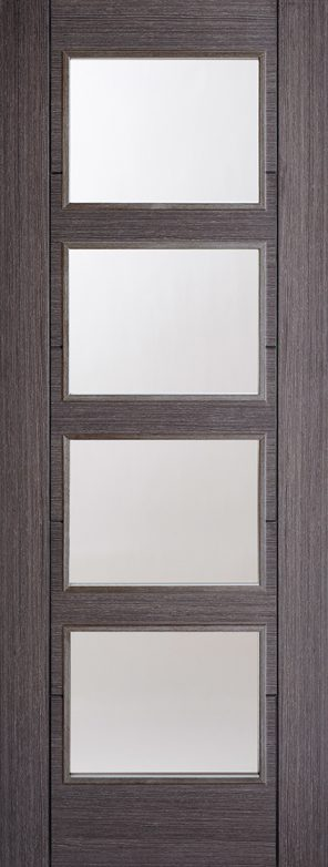 Ash grey vancouver 4l clear glazed internal door