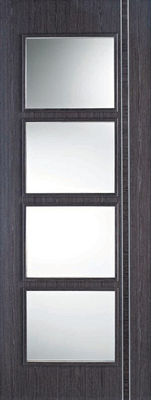 Ash grey zanzibar 4l clear glazed internal door