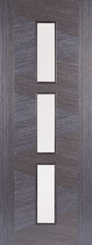 Ash grey zeus 3l clear glazed internal door