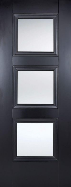 Black primed amsterdam 3l clear glazed internal door