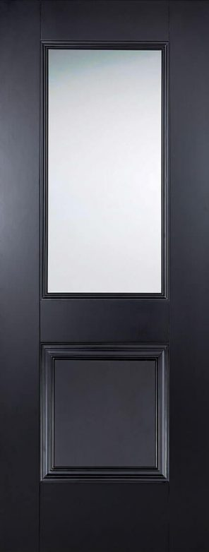 Black primed arnhem 1l 1p clear glazed internal door