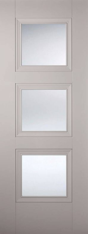 Grey primed amsterdam 3l clear glazed internal door