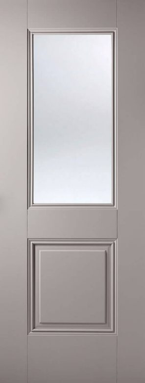 Grey primed arnhem 1l 1p clear glazed internal door