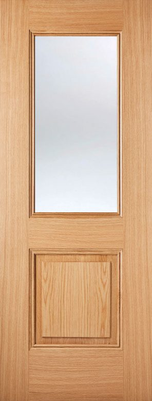 Pre finished oak arnhem 1l 1p clear glazed internal door