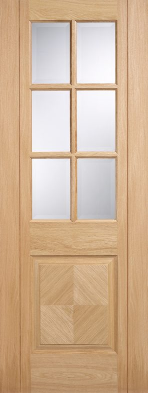 Pre finished oak barcelona 6l clear bevelled glazed internal door