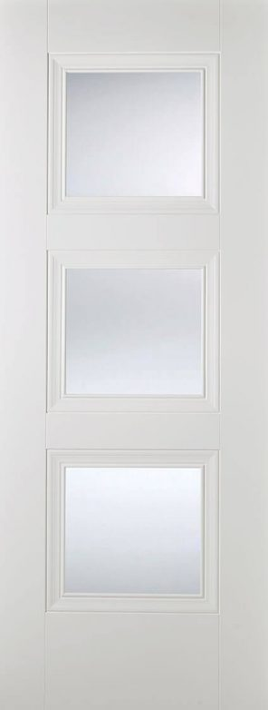 White primed amsterdam 3l clear glazed internal door