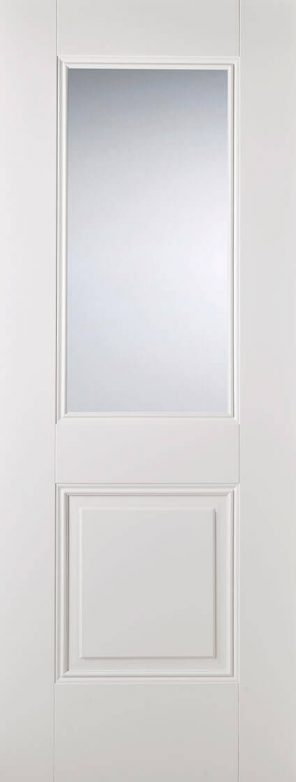 White primed arnhem 1l 1p clear glazed internal door