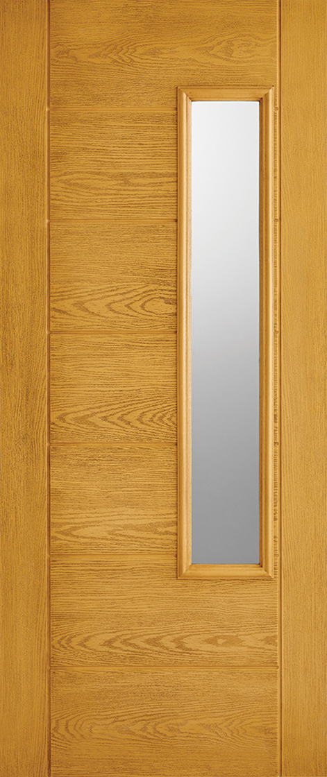 Grp composite oak frosted double glazed external door