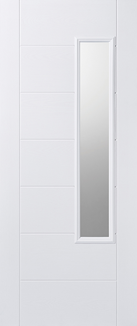 Grp composite white frosted double glazed external door